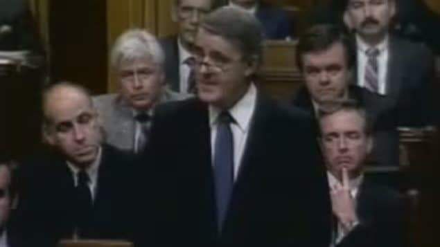 Canada's (then) Prime Minister Brian Mulroney giving the apology in the House of Commons, Sept 22 1988.