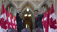 Le premier ministre canadien Justin Trudeau en compagnie de son homologue chinois, Li Keqiang � Ottawa.