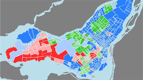 En rouge, les quartiers majoritairement anglophone de la régions de Montréal. En vert, les quartiers allophones et en bleu les quatiers francophones.
