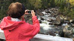 Une randonneuse profite du paysage du parc national de la Gaspésie