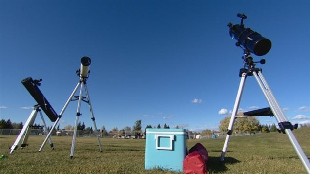 Three telescopes are set up in Bon Accord waiting fro nighttime as the town celebrates its Equinox festival and being Canada's first Dark Sky community