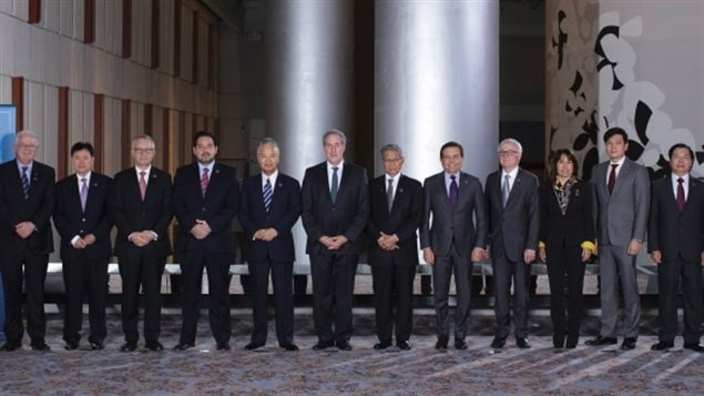 Trade ministers from many countries at the Trans Pacific Partnership meeting in Atlanta in 2015. Maude Barlow explains how such mega free trade deals can put national water, social and environmental laws at risk from multi-national corporations