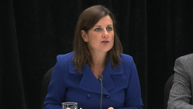 La ministre Stéphanie Vallée en point de presse