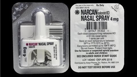 Le vaporisateur nasal de naloxone NARCAN, développé par l'entreprise irlandaise Adapt Pharma PHOTO : ADAPT PHARMA