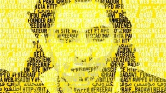 Image de la campagne d'Amnistie internationale pour la libération de Raif BadawiCrédit photo : Amnisitie internationale