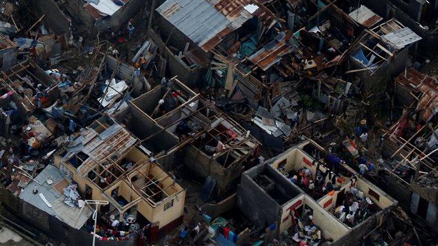 Des maisons détruites après le passage de l'ouragan Matthew à Jeremie, Haïti