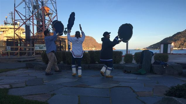 Drum dancing on the St. John's harbour front starting off iNuit Blanche