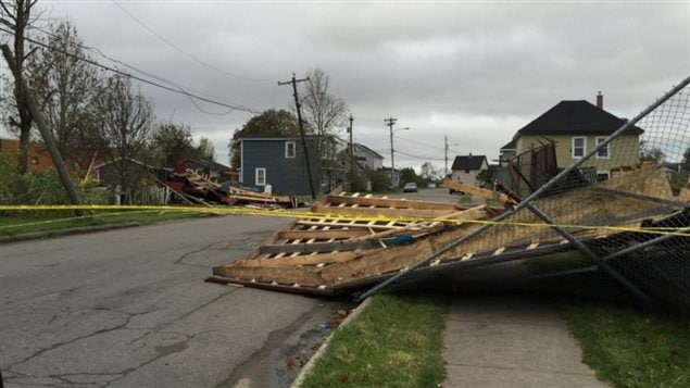 This home was completely blown down by the winds in Whitney Pier, a neighbourhood on the edge of Sydney