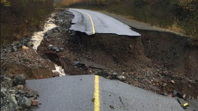 Several communities in Newfoundland have been cut off as the roads have been washed out. this road leading to Hermitage on the south coast is heavily damaged cutting off access to that town as well as two others.