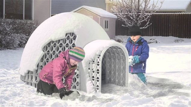 A photo montage shows how children can use a new plastic structure to safely build an igloo in the snow.