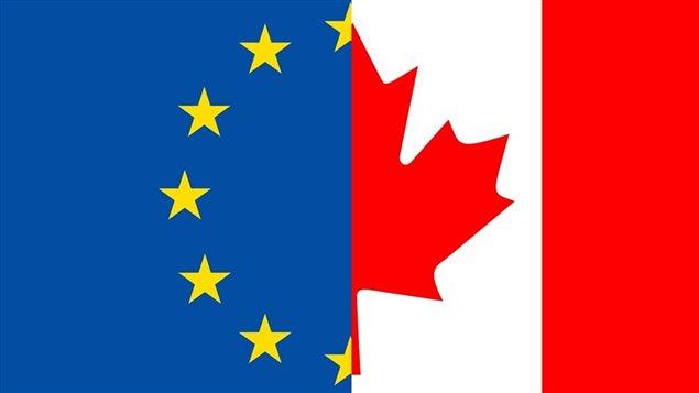 Drapeaux de l'Union européenne et du Canada