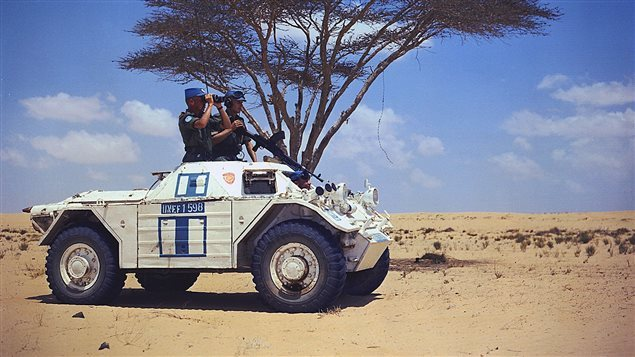 Canada became a respected international player through its commitments to Western defence and peacekeeping. In this photo, Lt. Dave Sproule and LCpl Ed Foster scan the Egypt-Israel frontier during a desert patrol in a Ferret scout car with Bren Gun as part of the UNEF mission. It was Pearson's vision that created the concept of peacekeeping. Canada has participated in some way in virtually every UN peacekeeping mission since 1956