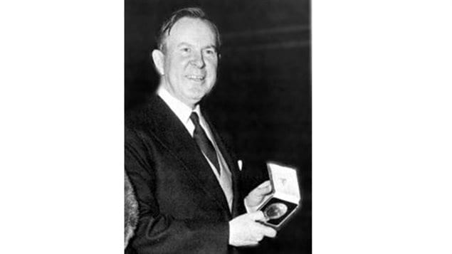 Lester B Pearson with his Nobel Peace Prize