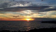 Le soleil se couche sur le lac Nipissing � North Bay