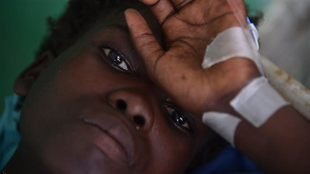 Maslen (17), with cholera symptoms,receives medical atention at the health center of Les Anglais, in Les Cayes, October 11, 2016.