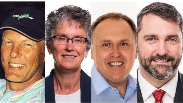 Les leaders des partis sont Frank de Jong du Parti vert, Liz Hanson du NPD, Darrell Pasloski du Parti du Yukon et Sandy Silver du Parti lib�ral.   PHOTO : RADIO-CANADA