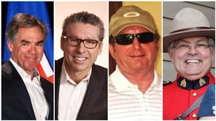 La tragédie a fait quatre morts, dont l'ancien premier ministre de l'Alberta Jim Prentice. De gauche à droite : Jim Prentice, Ken Gellatly, Sheldon Reid et Jim Kruk