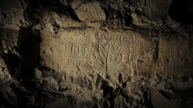 Photograph of bas relief carving of a Canadian maple leaf in Blenheim Quarry, Arras, France