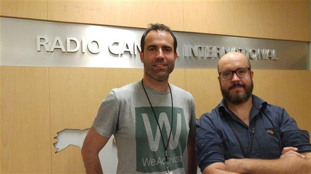 Ferran Civit i Marti, diputado del Parlamento Nacional Catalán y Alexandre Chartrand, director del documental El Pueblo prohibido.