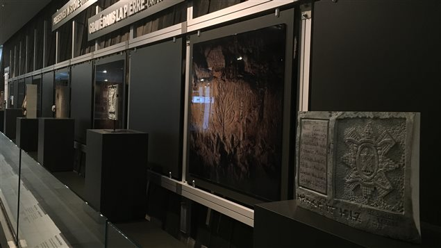 View of the exhibit of carvings and signatures etc. of Canadian soldiers in WW-I  exactly reproduced from mine tunnels in France, where troops waited before going into battle, in many cases, their last.