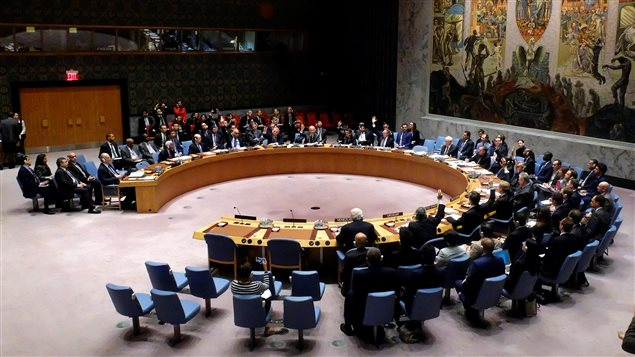 Members of the United Nations Security Council vote on a draft resolution that demands an immediate end to air strikes and military flights over Syria's Aleppo city, at the U.N. Headquarters in New York, U.S., October 8, 2016.