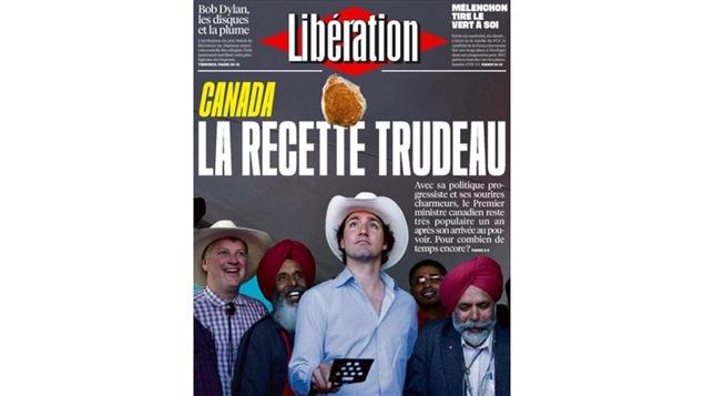 La une de <i>Lib�ration</i> consacr�e � Justin Trudeau