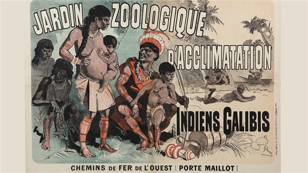 Indiens Galibis, Jardin d'Acclimatation de Paris. Affiche cr��e en1882.