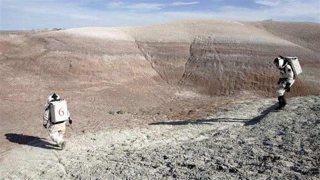 Des scientifiques simulent une expédition sur Mars, en Utah, en 2005.