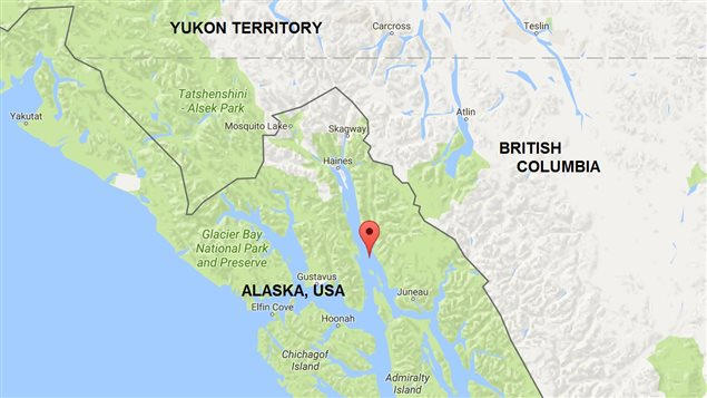 Red balloon points to Vanderbilt Reef in the middle of the narrow Lynn Canal fjord leading to Skagway Alaska.