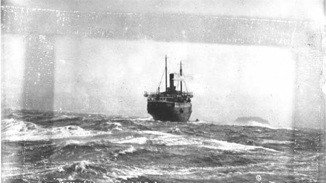 Princess Sophia stranded high on the reef, the wind and waves rocking the ship casuing damage to the hull.
