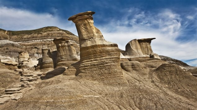 Hoodoos in Alberta. You don't have to go to the US to see *badlands*. Alberta's badlands in addition to being spectacular, are also the site of many major dinosaur finds.