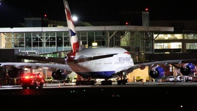 طائرة الخطوط الجوية البريطانية في مطار فانكوفر