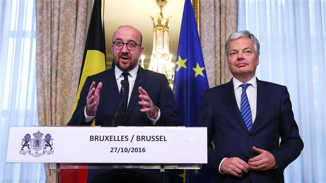 Belgian Prime Minister Charles Michel, and his minister of Foreign Affaires Didier Reynders.Belgium said late night negotiations had unblocked opposition and CETA could proceed