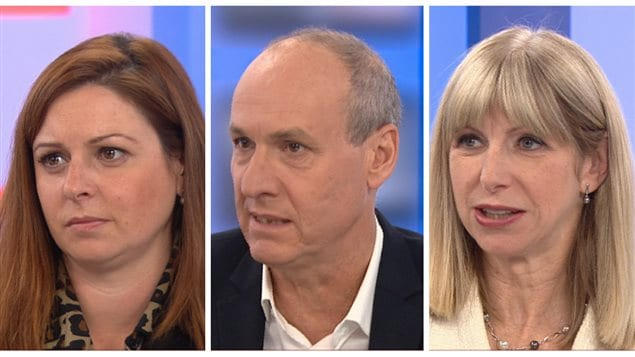 Les journalistes Marie-Maude Denis, Alain Gravel et Isabelle Richer.
