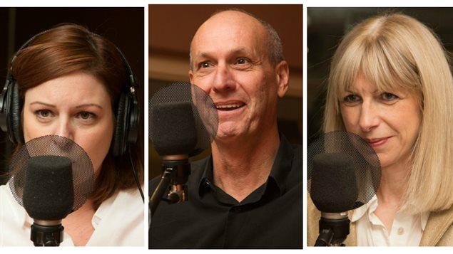 Les journalistes Marie-Maude Denis, Alain Gravel et Isabelle Richer
