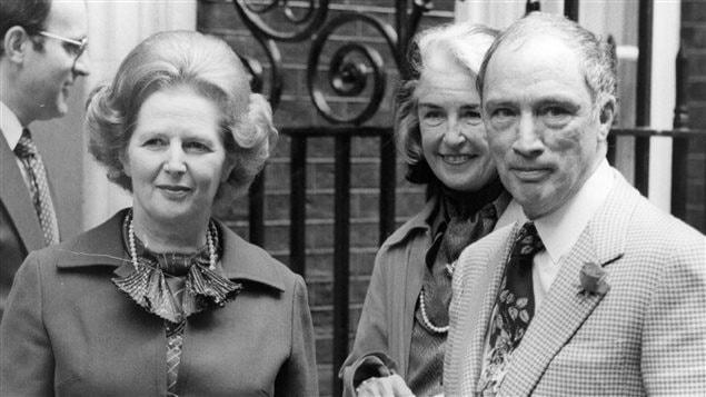 Pierre Elliott Trudeau rencontre la première ministre britannique Margaret Thatcher à Londres, le 25 juin 1980