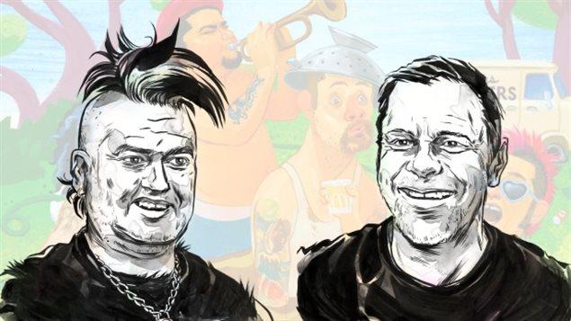 Un dessin de deux membres du groupe