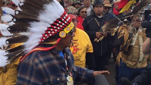 Première Nation Sioux Standing Rock, contre la construction du pipeline Dakota Access.
