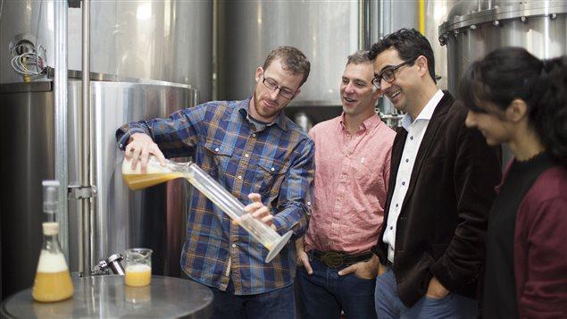 Le chimiste Euan Thomson (gauche) et le professeur Fraser Hof (lunettes) étudient la levure de bière.