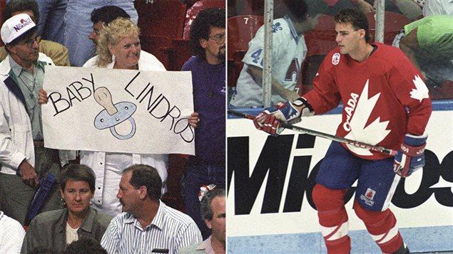 Des partisans des Nordiques narguent Eric Lindros lors de la coupe du Canada, à Québec, en septembre 1991.