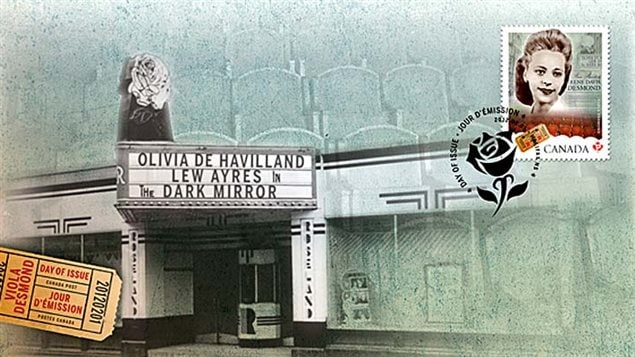 First Day Cover for the Viuola Desmond stamp showing the Roseland Theatre where Desmond took her anti-segregationist stance in New Glasgow, Nova Scotia.
