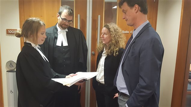 October 2016: Ecojustice lawyers, Kaitlyn Mitchell, Scott McAnsh with Lucy Sharratt, Coordinator Canadian Biotechnology Action Network (CBAN), and Ecology Action Centre policy director, Mark Butler. They say the Canadian government ignored requirements of the Environmental Act in approving the GM salmon