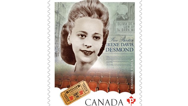 Close up of the Viola Desmond stamp issued in 2012