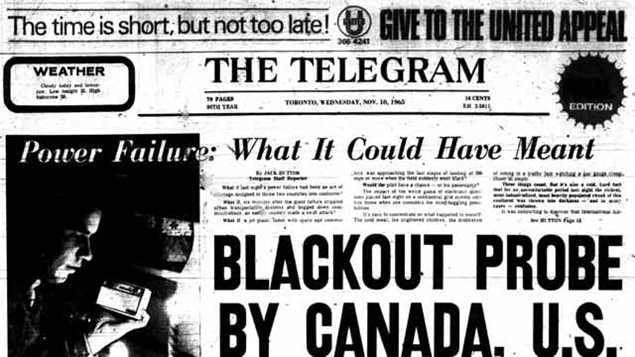 The (now defunct) Toronto Telegram of Nov 10, 1965. note to indication for the particular edition is simply black..a blackout edition)