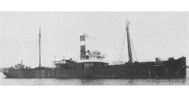 Cargo ship Wexford, sunk in 1913, located upright on the bottom near Grand Bend Ontario in 2000