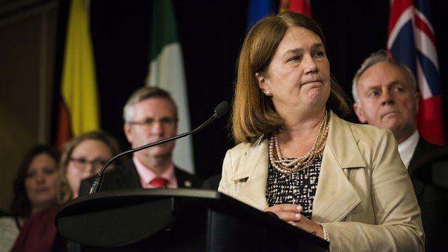 La ministre fédérale Jane Philpott lors d'une rencontre des ministres de la Santé du pays en octobre à Toronto