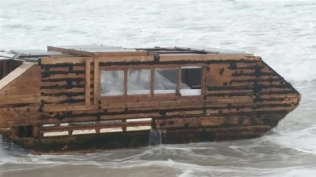 The caravan-sized watercraft washed up on the County Mayo beach on Sunday.