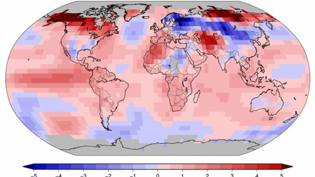 Image shows Jan 2016 land and ocean temperature departure from average 1981-2000 baseline. Image shows most of the world at above average temps, especially in the Arctic regions where winter temps were wll above average