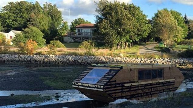 Timothy LeGrow of Conception Bay, Newfoundland, spotted this houseboat near in a marine pond near his house.