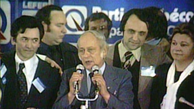 René Lévesque le soir de l'élection du 15 novembre 1976